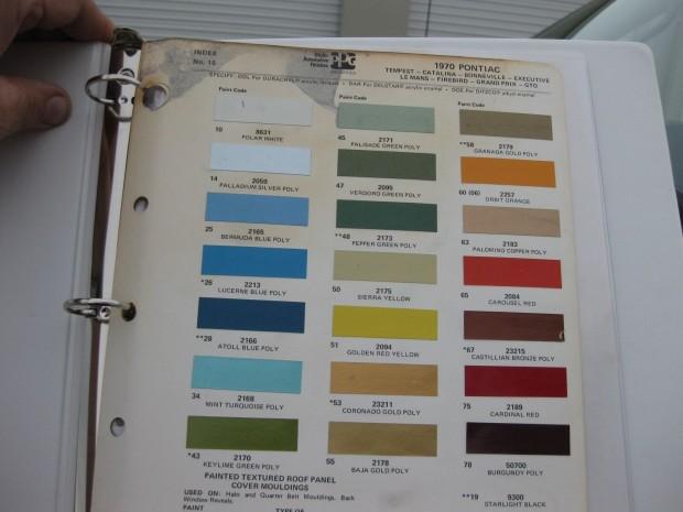 1970 Pontiac colorchart