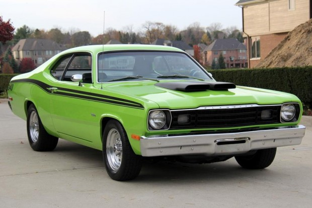 1973 Plymouth Duster Sublime green 340 4 Speed, 833-A Trans Rare1