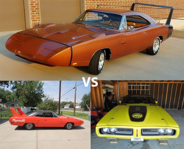 1969 dodge charger daytona vs 1970 plymouth superbird 1971 dodge superbee muscle car. Black Bedroom Furniture Sets. Home Design Ideas