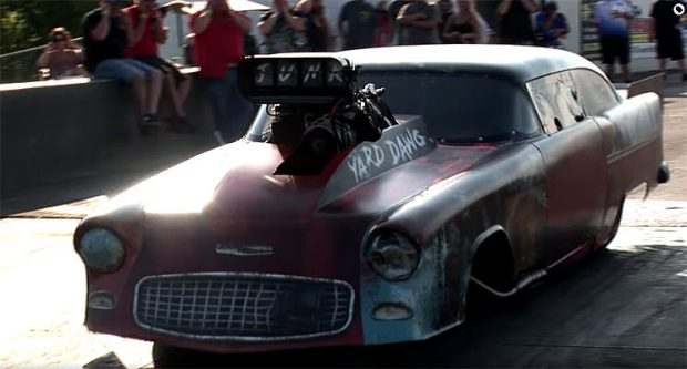 Junkyard Wrap 55 Chevy Pro Mod Blasts Down The 8th Mile Muscle Car